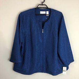 Alfred Dunner Blue Zip Jacket Blazer